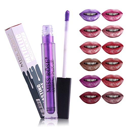 6 PC set ultra metallic nude brown purple shimmer liquid lipstick set (Set 2 (31-35))