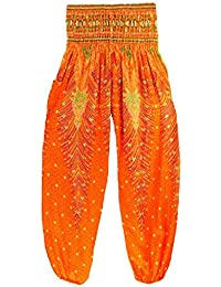Thai Style Pants Orange Summer Beach Bohemian High Waist Harem Loose Women Trousers