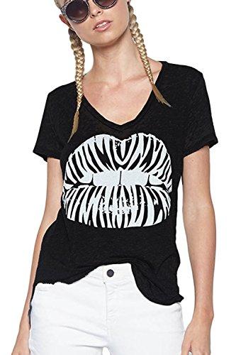 Lauren Moshi Black Emmalyn 'Zebra Lips' Tee (Medium)