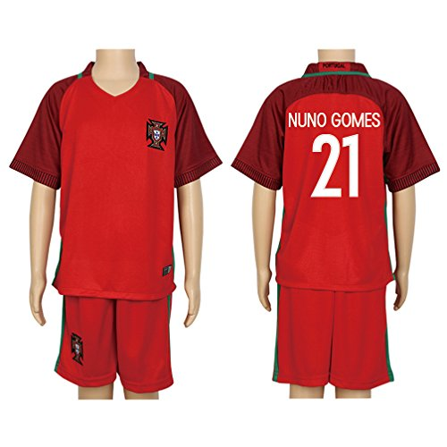 2016-uefa-euro-21-nuno-gomes-red-home-kids-soccer-jersey-short-kit-set