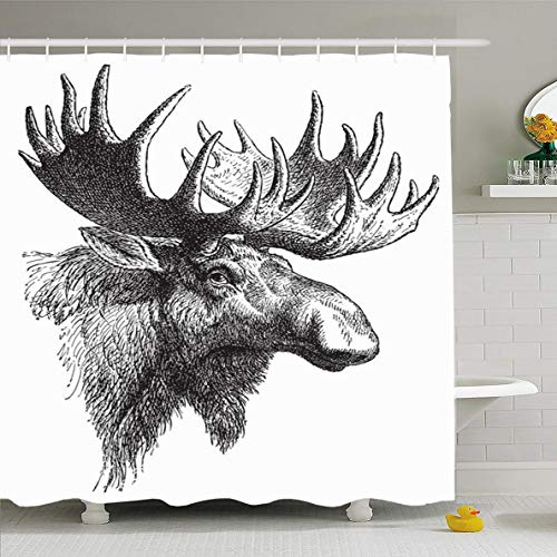 Ahawoso Shower Curtain 60x72 Inches Trophy Head Moose Eurasian Elk Alces Vintage Ancient Wildlife Deer Canada Antler Mountain Bull Waterproof Polyester Fabric Bathroom Curtains Set with Hooks (Moose Trophy Head)