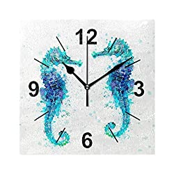 Wall Clock Square Animal Seahorse Couple 8x8 Inches Silent Decorative for Home Office Kitchen Bedroom