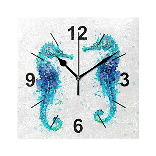 (Wall Clock Square Animal Seahorse Couple 8x8 Inches Silent Decorative for Home Office Kitchen Bedroom)