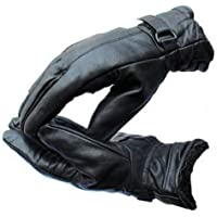 Ramanta Black Men's Soft Leather Winter Riding Gloves for Riders (1 Pair, Large)