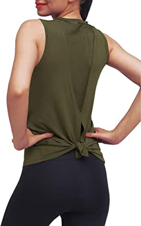Mippo Women's Sexy Backless Workout Yoga Shirt Spaghetti Strap Mesh Cami Tank Top