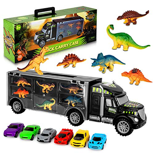 AOKESI Dinosaur Transport Car Carrier Truck Educational Vehicles Toy with Dinosaur Set Great Dinosaur Toys for Boys and Girls (Includes 6 Dinosaurs)