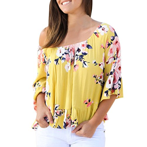 YANG-YI Clearance, Hot Summer Women Off Shoulder Flare Sleeve Strapless Tops Casual Blouse Shirt (Yellow, US XL=Asian 2XL)