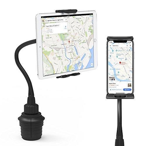EURPMASK Car Cup Mount Holder, Switchable Adjustable Swing Cradle Extended Cup Car Mount Holder Kit Compatible Tablet Smartphone