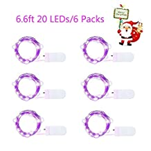 Led Light String, 6 pcs/pack 2 Meters 20 Led Lights,Indoor Decoration Lights for Christmas Party, Wedding Dancing, Outdoor Patio, BBQ, Camping, Wall, Bedroom, Window Starry String Lights(Purple)