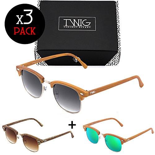 gafas Distinct estilo Tres madera de MASTER mujer Pack TWIG sol hombre SOBO6dq