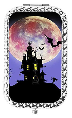 IMLONE Rectangle Silvery Halloween Bat House Compact Purse Mirror with 2X Magnification, Portable Folding Makeup Mirror, Great Choice and Best Gift for You and Your Friend