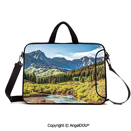AngelDOU Laptop Sleeve Notebook Bag Case Messenger Shoulder Laptop Bag Mountain Vista with Thick Forest Trees Mountain Flowing River Grass Cloudy Sky V Compatible with MacBook HP Dell Lenovo Multi