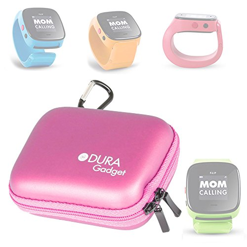 DURAGADGET FiLIP & FiLIP 2 Smart Watch Case - Premium Quality Pink Hard EVA Shell Case with Carabiner Clip & Twin Zips for FiLIP & FiLIP 2 Wearable Phone / Smart Locator for Kids by DURAGADGET