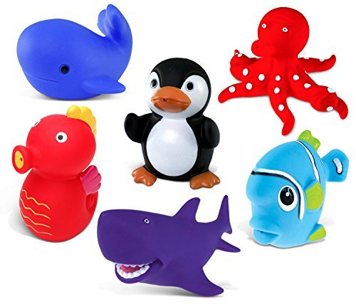 Puzzled Sea Horse, Blue Whale, Penguin, Red Octopus, Purple Shark and Blue Fish Rubber Squirter Bath Buddy Bath Toy - Ocean \ Sea Life Theme - 3 INCH - Item #K2734-2748-2762-2780-2781-2783 (Purple Whale)