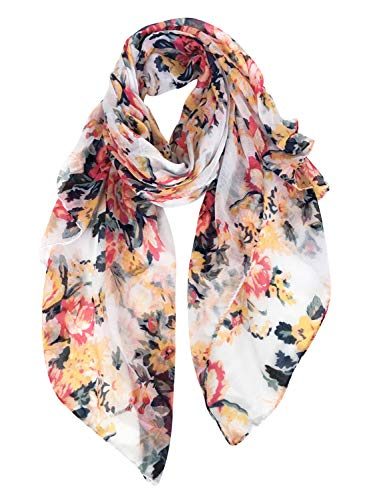 GERINLY Scarves for Women Florals Print Long Head Wraps Summer Thin Scarf - Floral Beautiful Scarf