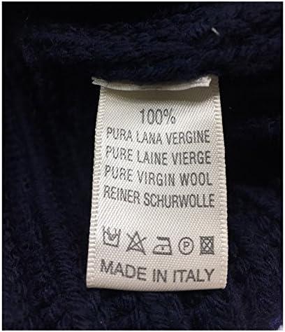 GRP Maglia Uomo Collo Alto Pesante Coste Inglesi Blu 100% Lana Made in Italy
