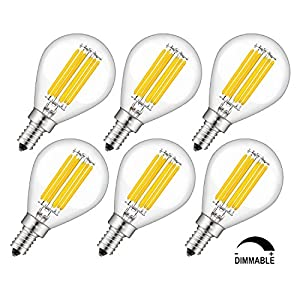 CRLight Globe Dimmable Candelabra LED Bulb , 6W 3200K Soft White 700LM 70W Equivalent , E12 Base LED Filament Bulbs, G14(G45) Clear Glass Globe Shape, 6 Pack