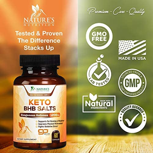 Keto BHB Pills Premium Exogenous Ketones Salts 1200mg - Utilize Your Body's Natural Energy with Ketosis - Made in USA - Ketone Weight Support Supplement with Hydroxybutyrate for Men and - 60 Capsules 2