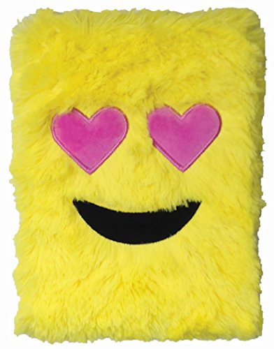 Embroidered Autograph - iscream Furry Emoji Heart Eyes Embroidered Accent Book-Bound Lined-Page 8.5
