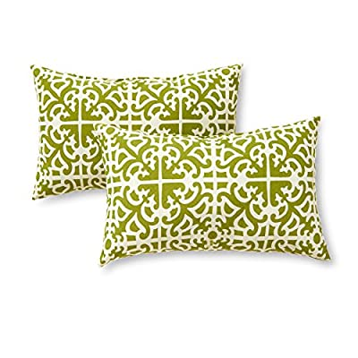 Greendale Home Fashions Rectangle Outdoor Accent Pillows, Grass, Set of 2 - Set includes two 19 x 12 inch accent pillows 100% polyester, UV-resistant outdoor fabric Poly fiber fill made from 100-percent recycled, post-consumer plastic bottle - patio, outdoor-throw-pillows, outdoor-decor - 51rc7Mk174L. SS400  -