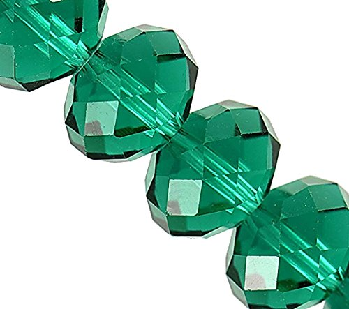 - Linpeng 130pcs 8x10mm Faceted Rondelle Crystal Beads for Jewelry Making Emerald