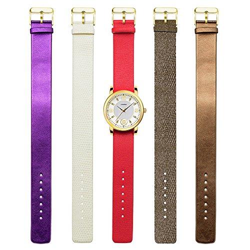 SINOBI Women Watch 5 Color Straps Set Five Interchangeable Bands Crystal Designer Quartz Watches (Watch Set)
