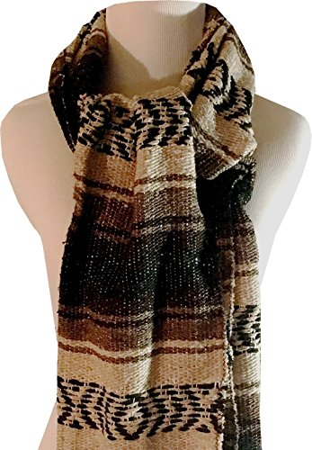 Mexican Blanket Serape Scarf Brown Khaki