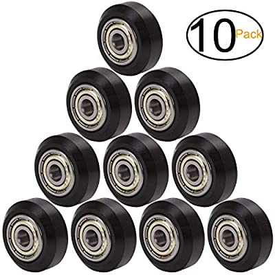 ExcelFu Big Plastic Pulley Wheel with Bearing Idler Pulley Gear Perlin Wheel for 3D Printer, Pack of 10