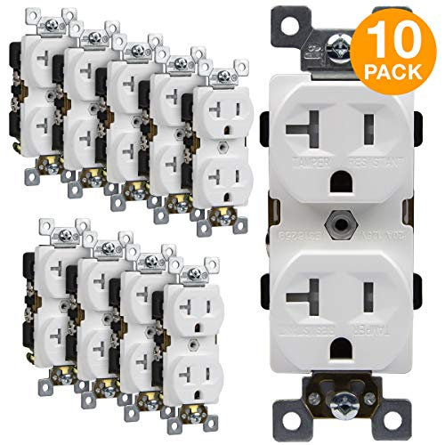 (ENERLITES Duplex Receptacle, Tamper-Resistant, Commercial Grade Outlets, 20A 125V, Self-Grounding, 2-Pole, 3-Wire, 5-20R, UL Listed, 62040-TR-W-10PCS, White (10 Pack))