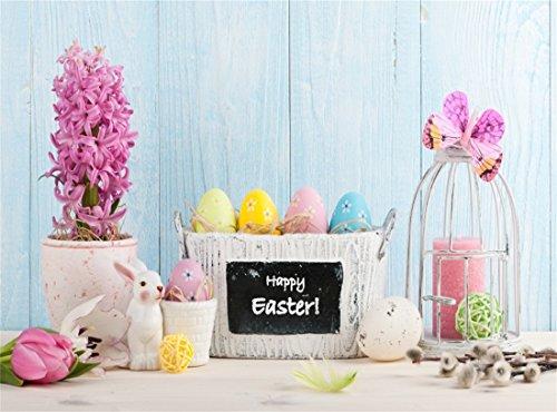 Leowefowa Vinyl 10X8FT Happy Easter Eggs Backdrop Basket Fre