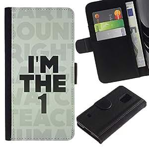 All Phone Most Case / Oferta Especial Cáscara Funda de cuero Monedero Cubierta de proteccion Caso / Wallet Case for Samsung Galaxy S5 V SM-G900 // I'M The 1 One Message
