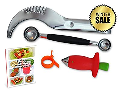 "Watermelon Slicer with free Fruit Kitchen Utensils Set - Stainless Steel Melon Slicer, Dual Scoop Melon Baller, Strawberry Stem Tool and Orange Peeler - ""Fruit Basket"", with FREE E-Book"