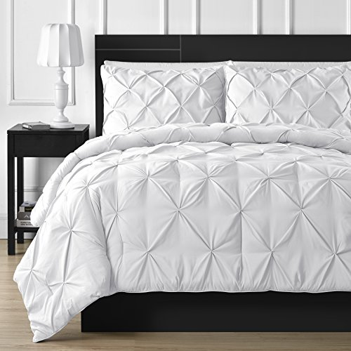 Double Needle Durable Stitching Comfy Bedding 3-piece Pinch Pleat Comforter Set All Season Pintuck Style (Queen, White) (White Set Comforter Pintuck)