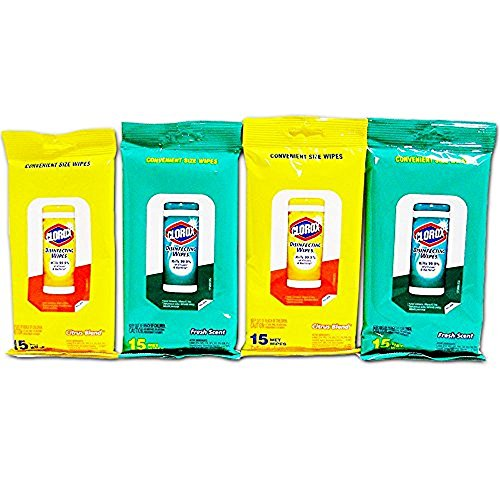 (4 Pk Clorox Disinfecting Wipes Travel Size 2 Ea Fresh Scent & Citrus Blend Scent)