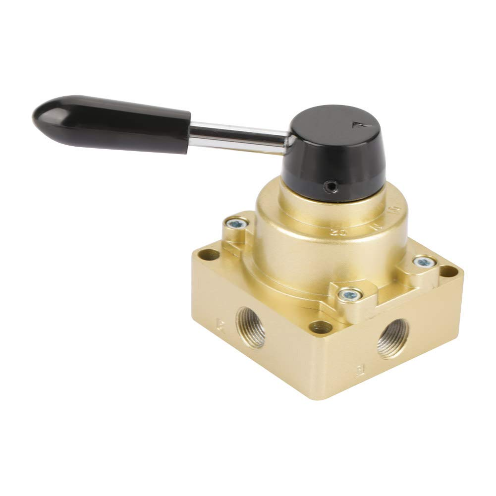 3 Positions 4 Ways Metal Plastic Pneumatic Air Flow Control Rotary Hand Lever Valve Gold 16mm HV-03 G3//8