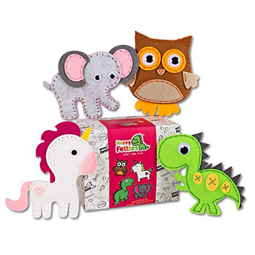 Happy Felties Pack # 1 - Felt Animal Crafting Sewing Kit and Animal Crafts - Fun DIY Stuffed Animal Sew Kits for Kids Boys and Girls - Beginner friendly
