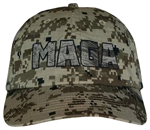 MAGA CAMO Hat - American Flag Embossed in MAGA - Trump Camouflage Cap (Digital CAMO Green w/Army Green MAGA) ()