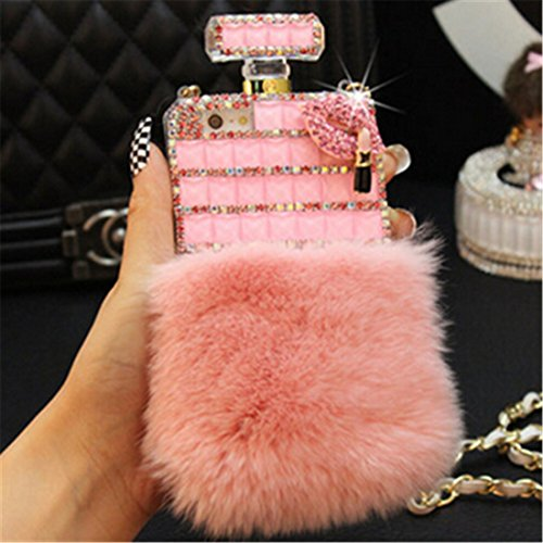 Diamond Perfume Bottle - Fusicase Luxury Perfume Bottle Design Bling Rex Rabbit Fur Bling Diamond Hair Sleeve Plush Back Case Cover for Iphone 6 Plus/6S Plus 5.5