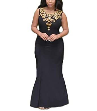 TulBridal Womens Gold Beaded Mermaid Backless Prom Dresses Black Evening Formal Gowns