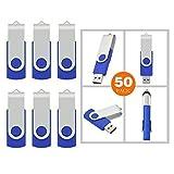 RAOYI 50Pcs 2GB USB 2.0 Flash Drive Bulk Swivel Memory Stick Thumb Drives Pen Drive Fold Storage Thumb Stick (2G, Blue)