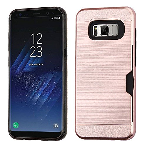 Price comparison product image Galaxy S8 Case, Mybat Dual Layer [Shock Absorbing] Protection Hybrid Brushed PC/TPU Rubber ID/Credit Card Slot Case Cover For Samsung Galaxy S8, Rose Gold/Black