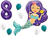 Mermaid Birthday Balloon Party Supply Set with #1-9 Number Bundle: 38'' Enchanted Mermaid with (1) 40'' Purple Number of Choice & (3 Each) White & Teal Latex Party Balloons. by PartyBox! (8th Birthday)