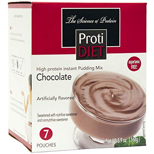 ProtiDiet Protein Pudding - Chocolate (7/Box) - High Protein 15g - Low Calorie - Low Fat (Protein Diet Pudding)