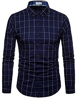 Mens Long Sleeve Plaid Classic Shirt-Easycare 100% Cotton Shirt