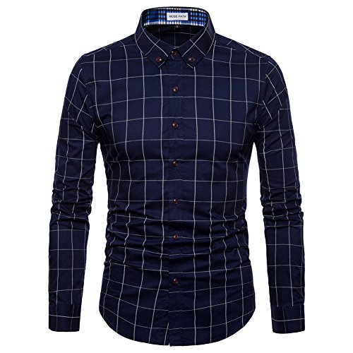 MUSE FATH Long Sleeve Shirt-Cotton Plaid Shirt-Easycare Long Sleeve Shirt-Deep Blue-XXL ()