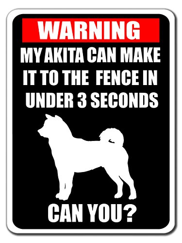 Funny Warning beware de perro Akita Sign de aluminio 9 x 12 ...