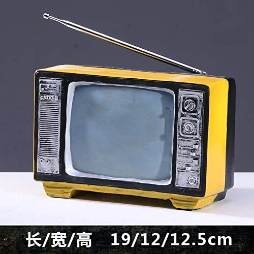 ZSWshop Radio Retro Antigua, TV, máquina de Escribir, máquina de Coser, Adornos de Resina, Modelo nostálgico, Accesorios de Fotos, Decoraciones, TV Amarilla 106: Amazon.es: Hogar