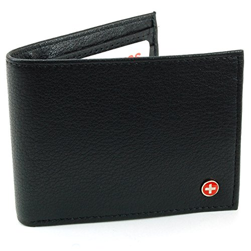 RFID Blocking Mens Leather Hybrid Trifold Bifold Wallet Black - Stops Electronic Pick Pocketing Works Against Identity Theft & Credit Card Data Breach by Stopping RFID Scans.