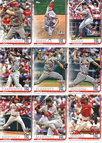 (2019 Topps Opening Day Baseball St. Louis Cardinals Team Set of 9 Cards: Paul Goldschmidt(#94), Yadier Molina(#102), Jose Martinez(#108), Carlos Martinez(#109), Dakota Hudson(#116), Jack Flaherty(#139), Matt Carpenter(#168), Harrison Bader(#174), Miles Mikolas(#190))