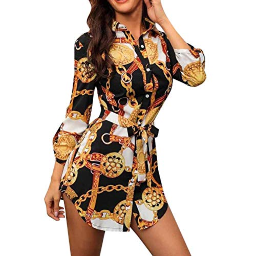 FRENDLY Women Long Sleeve Chain Print Shirt Dress Ladies Casual Mini Dress Bodycon T Shirt Short Dress White